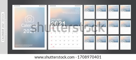 Calendar 2021, Set Desk Calendar template design with Place for Photo and Company Logo. Week Starts on Sunday. Set of 12 Months. Royalty-Free Stock Photo #1708970401