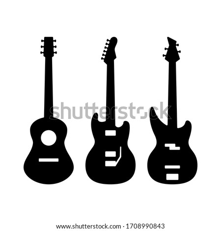 Guitar Silhouettes. Acoustic, Electric, Bass Types of Guitar Black Silhouettes. Vector Illustration.