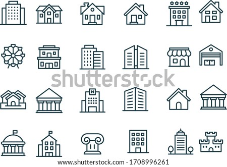 Building Line Icons vector design black and white  Royalty-Free Stock Photo #1708996261