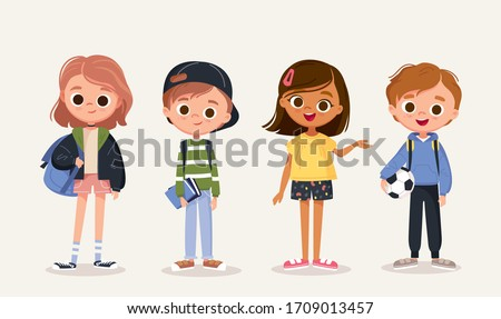 Set of school kids with school supplies.Pupils with books and backpacks. vector.Set of preschoolers children teenagers characters in different poses,clothes,wear. Children fashion models.Kids apparel. #1709013457