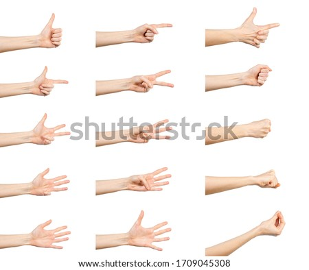 Multiple Caucasian female  hand gestures isolated over white background, set of multiple images. #1709045308