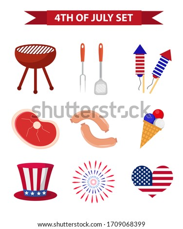 Set of patriotic icons Independence Day of America. July 4th collection of design elements, isolated on white background. National celebration, barbecue, BBQ. illustration, clip art.