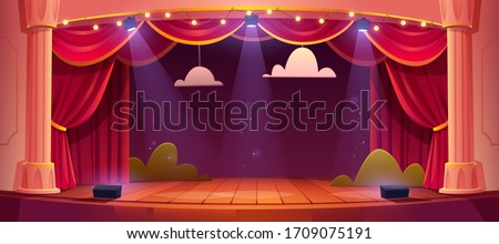 Theater stage with red curtains and spotlights. Vector cartoon illustration of theatre interior with empty wooden scene, luxury velvet drapes and decoration with clouds and bushes Royalty-Free Stock Photo #1709075191