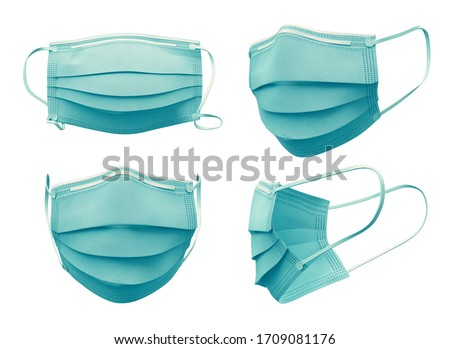 High resolution. Medical mask isolated on white background, Corona protection, With clipping path. 3d rendering