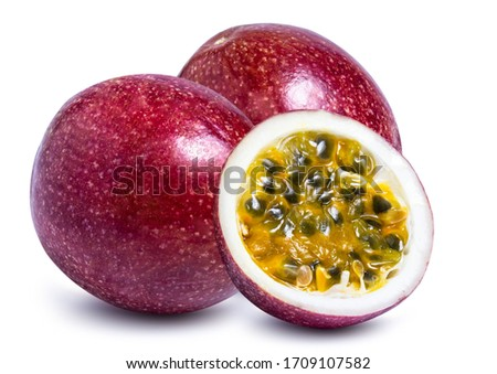 clipping path passion fruit isolated on white background Royalty-Free Stock Photo #1709107582