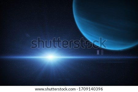 View of planet Neptune from space. Space, Sun and planet Neptune. This image elements furnished by NASA.