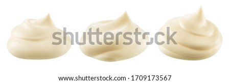 Mayonnaise isolated. Mayo swirl on white background. Mayonnaise cream set. Mayonnaise swirl with clipping path. #1709173567