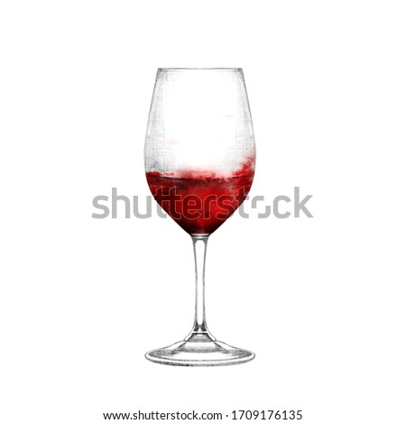 Realistic illustration of wineglass. Glass of red wine isolated on white. Hand drawn alcohol beverage. Design element for bar and restaurant menu, recipes, flyers.