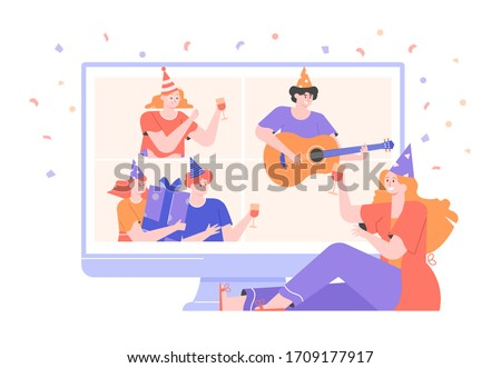Online internet party. Birthday celebration in quarantine mode. Friends live in different countries and cities, have fun in a video conference. They play the guitar, drink drinks, show gifts. Vector. #1709177917