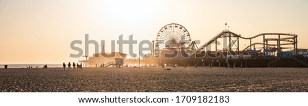Panoramic view of the Santa Monica Beach and the Pier  Royalty-Free Stock Photo #1709182183