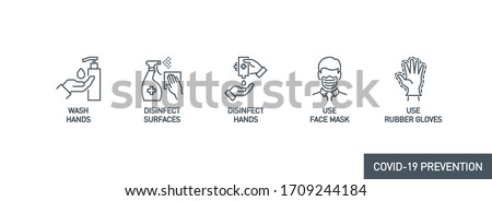 Prevention line icons set isolated on white. outline symbols Coronavirus Covid 19 pandemic banner. Quality design elements mask, gloves, distance, wash disinfect hands, stay home with editable Stroke #1709244184