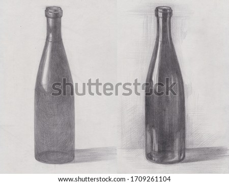 Art studio school pencil  tonal shading drawing sketch of a wine glass bottle. Art education sequence example tutorial step by step. Light and shadow
