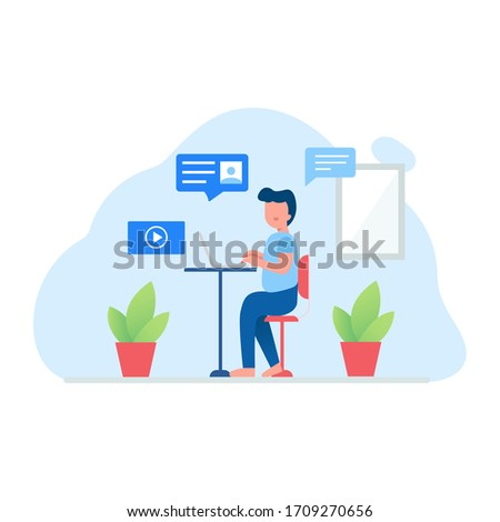 Man working from home concept. #1709270656