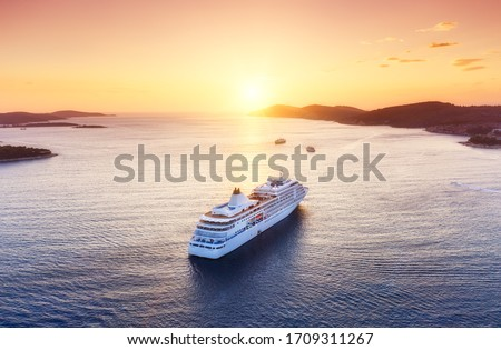 Croatia. Aerial view at the cruise ship during sunset. Adventure and travel.  Landscape with cruise liner on Adriatic sea. Luxury cruise. Travel - image #1709311267