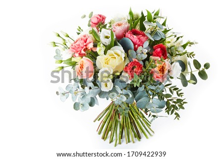 wedding bouquet  isolated on white. Fresh, lush bouquet of colorful flowers #1709422939