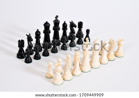 Ivory Chess pieces on white background #1709449909