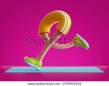 3d render cartoon character legs run, training routine on blue mat, physical activity at home, flexible body parts isolated on pink background. Funny toy, surrealistic clip art, sport motivation