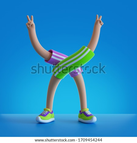 3d render cartoon character flexible body parts. Hands and legs isolated on blue background. Physical activity at home, indoor fitness exercise routine. Funny surrealistic clip art, sport motivation