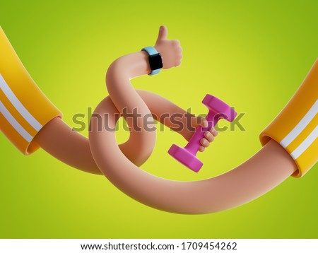 3d render elastic tangled cartoon hands hold dumbbell isolated on green background. Indoor fitness exercise routine, physical activity at home. Funny surrealistic clip art, unusual sport motivation