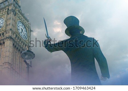 Jack the Ripper in old London Royalty-Free Stock Photo #1709463424