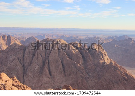 Beautiful landscape from the highest rocky mountains of St. Catherine, Egypt  #1709472544