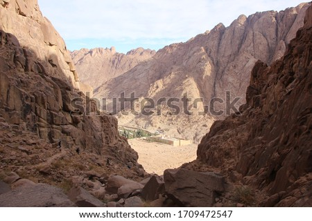 The view is not the most beautiful of the highest mountains in Catherine, sand rocks, mountains and majestic arid mountains in a delightful and beautiful landscape in St. Catherine, Egypt  #1709472547