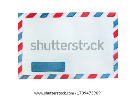Water color illustration of white closed envelope with red and blue striped border. Hand painted watercolour sketchy drawing, cutout clip art element for creative design, banner, template, invitation.