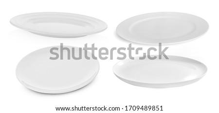 set of multi-shape white plate on white background Royalty-Free Stock Photo #1709489851