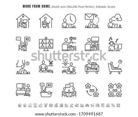 Simple Set of Stay and Work from Home in Coronavirus 2019 or Covid-19 Crisis.  Such as Working in Living Room, Teleworking, Thin Line Outline Icons Vector. 64x64 Pixel Perfect. Editable Stroke. #1709491687