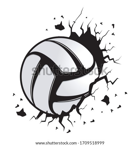 new creative volleyball balls that penetrate walls for stickers and t-shirt designs, vector illustration
