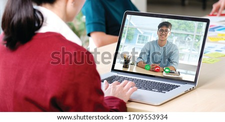 Video conference, Work from home, Businesswoman making video call to employee with virtual web, Contacting manager by conference on laptop computer at home, Talking online website #1709553934