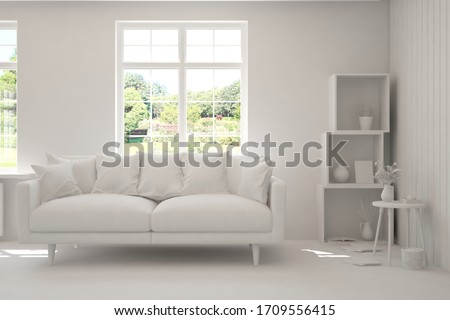 Stylish room in white color with sofa and summer landscape in window. Scandinavian interior design. 3D illustration #1709556415