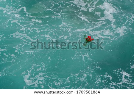 open blue sea and flowers #1709581864