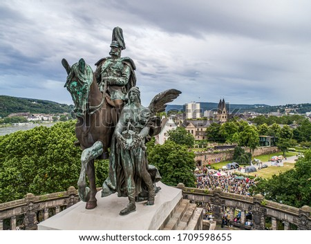 Koblenz City Germany historic monument German Corner where the rivers rhine and mosele flow together Royalty-Free Stock Photo #1709598655