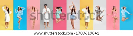 Collage of women and man with sleep masks on color background. Banner design #1709619841