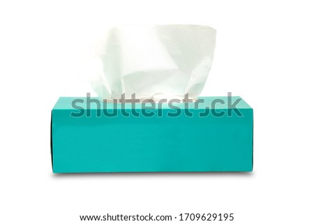 Tissue box mock up white tissue box blank label and no text for packaging Royalty-Free Stock Photo #1709629195
