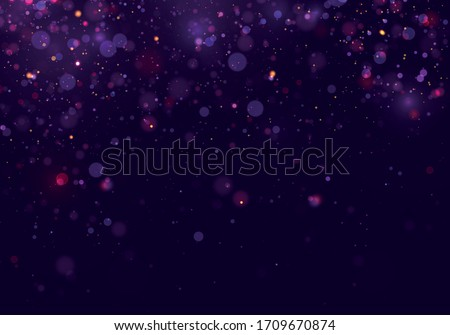 Colorful purple bokeh effect.Texture background abstract Glitter and elegant for Christmas. Dust white. Sparkling magical dust particles. Magic concept. Vector #1709670874