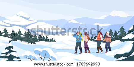 Group of cartoon backpacker winter hiking at mountain landscape panorama. Two active couple walking at snowy season. Colorful people outdoors activity. Travel expedition and mountaineering sport