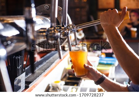 bartender pours beer into a glass from the tap bar menu horizontal #1709728237