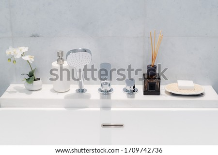 interiors and decors in modern bathroom - toiletries #1709742736