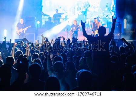 Fans at live rock music concert cheering musicians on stage, back view #1709746711