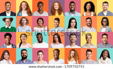 Diversity Concept. Mosaic Of People Portraits With Multiracial Smiling Faces On Colorful Backgrounds. #1709750755