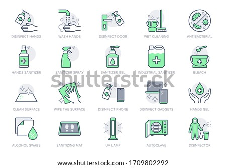Disinfection line icons. Vector illustration included icon as spray bottle, floor cleaning mop, wash hand gel, autoclave uv lamp outline pictogram for housekeeping Green Color, Editable Stroke #1709802292