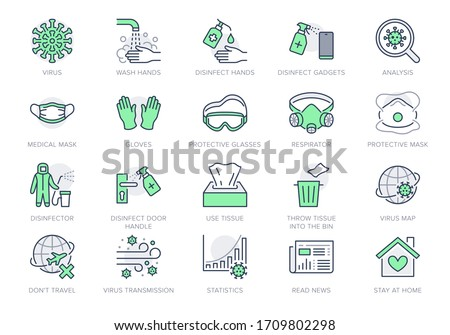Coronavirus, virus prevention line icons. Vector illustration include icon - wash hands disinfection, face mask, sanitizer gloves outline pictogram for infographic Green Color, Editable Stroke #1709802298