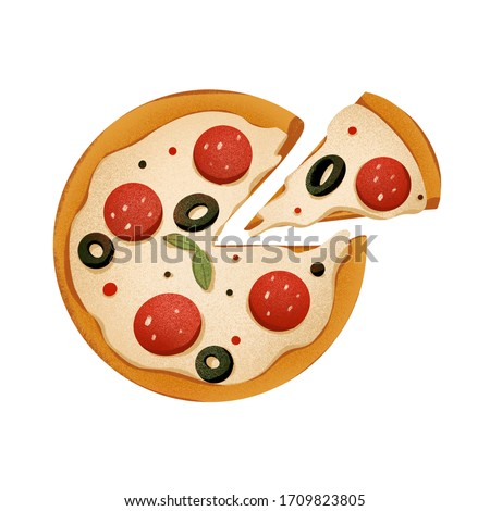 Juicy round pizza with sliced slice and pepperoni, olives. Digital texture art. Print for cards, banners, posters, menus, restaurants, cuisine, fabrics, stickers.