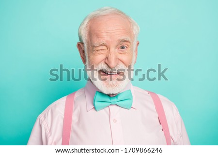 Close up photo of imposing dreamy candid old man wink blink enjoy cool best weekend wear good look clothing isolated over green color background #1709866246