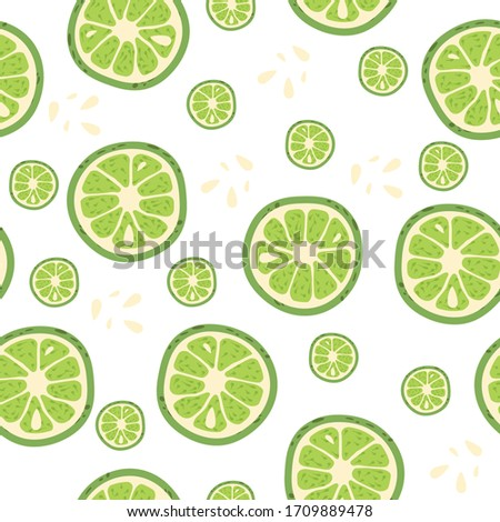Seamless pattern with pieces of lime. Vector illustration. #1709889478