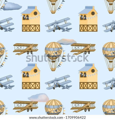 Seamless pattern with hand drawn festive hot air balloons, retro airplanes and houses on a blue background