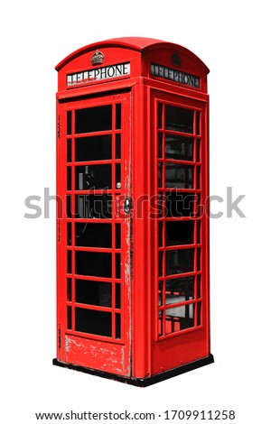Red telephone box in London isolated on white background Royalty-Free Stock Photo #1709911258
