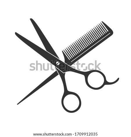 Scissors and hairbrush graphic icon. Sign crossed scissors and hairbrush isolated on white background. Barbershop symbols. Vector illustration